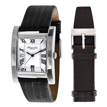 Kenneth Cole KC5174 Men's Classic White Dial Black Interchangeable Leather Strap Watch