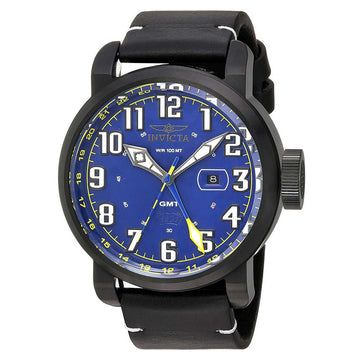 Invicta 22254 Men's Aviator Blue Dial Black IP Steel Black Leather Strap GMT Watch