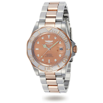 Invicta 9423 Men's Two Tone Rose Gold Steel Bracelet Automatic Pro Diver Copper Dial Watch