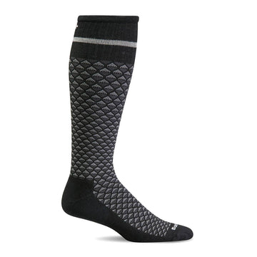 Sockwell Men's Knee High Socks - Micro Mix Graduated Compression, Black | SW32M