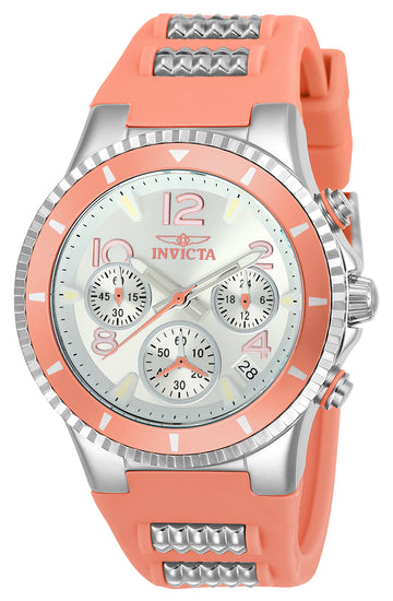 Invicta 24190 Women's BLU Silver Dial Steel & Pink Silicone Strap Chronograph Watch