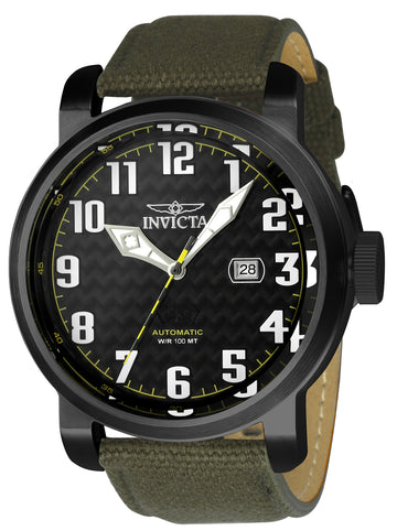 Invicta 23075 Aviator Men's Black Dial Automatic Date Watch