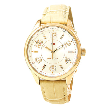 Tommy Hilfiger 1781674 Women's Sofia Silver Tone Dial Tan Leather Strap Watch