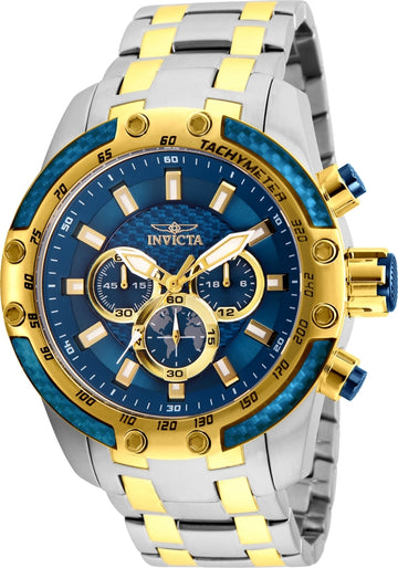 Invicta Men's Chronograph Watch - Speedway Blue Dial Two Tone Steel | 25947