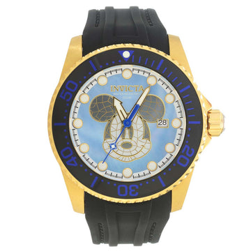 Invicta 22751 Men's Disney Limited Edition Blue MOP Dial Black Silicone Strap Automatic Dive Watch