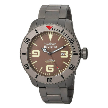 Invicta Men's Automatic Watch - Pro Diver Brown Dial Grey Titanium Bracelet | 23125