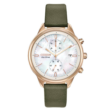 Citizen Women's Chronograph Watch - Chandler MOP Dial Leather Strap | FB2008-01D
