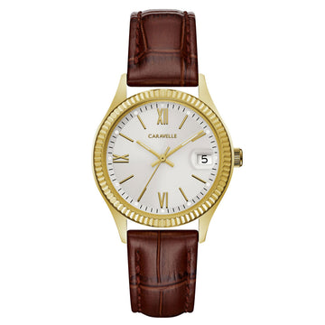 Caravelle 44M111 Women's Silver Dial Yellow Gold Steel Brown Leather Strap Watch