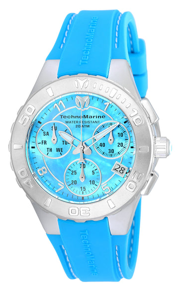 Technomarine Women's Chronograph Watch - Cruise Medusa MOP Dial Blue Band | TM-115084