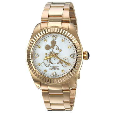 Invicta 24913 Women's Disney White Oyster Dial Yellow Gold Steel Bracelet Crystal Dive Watch
