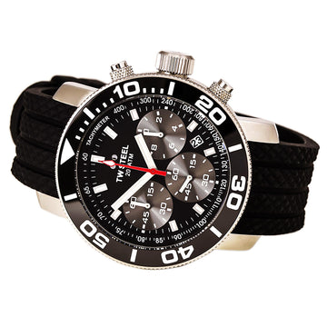 TW Steel TW700 Men's Grandeur Diver Chronograph Black Silicone Strap Black Dial Dive Watch