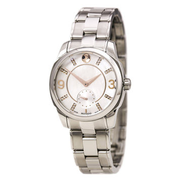 Movado 606619 Women's LX Diamond Accented White MOP Dial Steel Bracelet Swiss Quartz Watch
