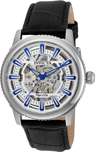 Invicta 22610 Men's Black Leather Strap Automatic Objet D Art White-Silver Semi-Skeleton Dial Watch