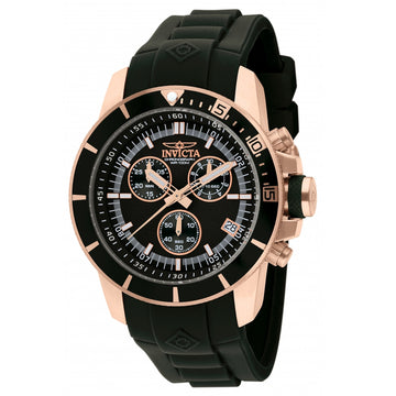 Invicta 11750 Men's Pro Diver Black Dial Black Rubber Strap Rose Gold Tone Stainless Steel Chronograph Watch