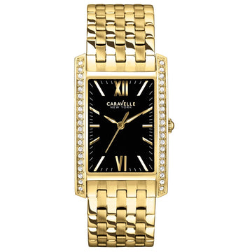 Caravelle 44L119 Womens Crystal New York Black Dial Gold Plated Steel Watch