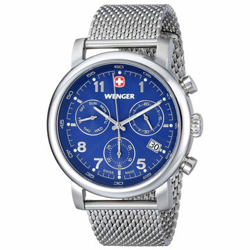 Wenger 01.1043.101 Men's Urban Classic Blue Dial Stainless Steel Mesh Bracelet Chronograph Watch