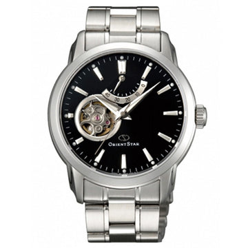 Orient DA02002B Men's Open Heart Steel Bracelet Black Semi-Skeleton