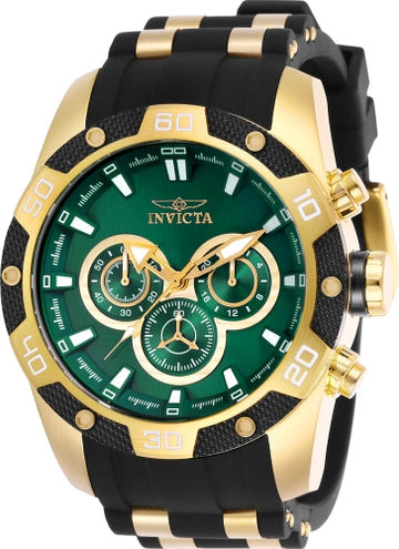 Invicta Men's Chronograph Watch - Speedway Green Dial Steel & Rubber Strap | 25837