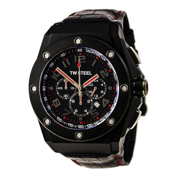 TW Steel CE4009 Men's CEO Tech Chronograph Black Leather Strap Black Dial Date Watch
