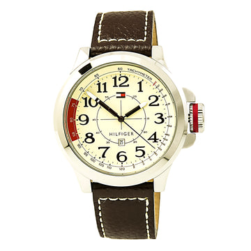 Tommy Hilfiger 1790844 Men's Sam Beige Dial Brown Leather Strap Watch