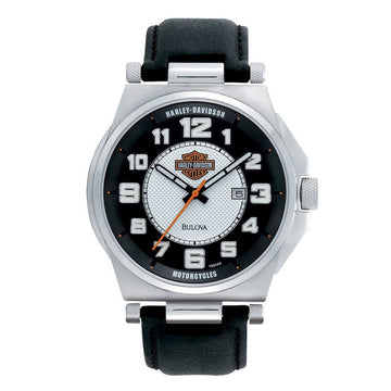 Harley Davidson 76B156 Men's Black Leather Strap Quartz Bar & Shield Black-Silver Dial Date Watch