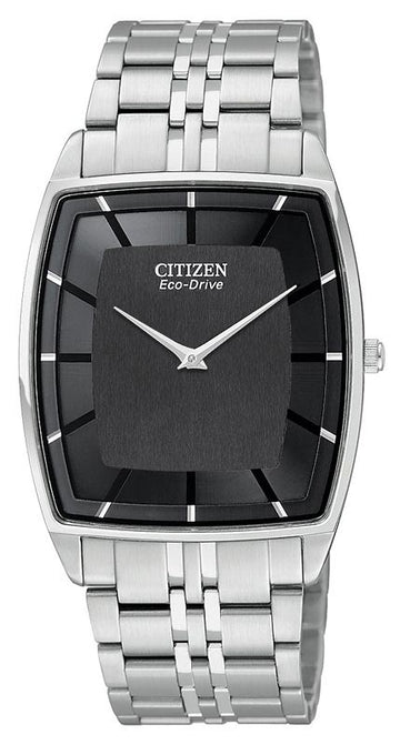 Citizen AR3020-53E Men's Stiletto Stainless Steel Bracelet Black Dial Eco-Drive Watch