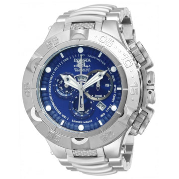 Invicta 12885 Men's Steel Bracelet Swiss Quartz Subaqua Noma V Chrono Blue Dial Day-Date Watch