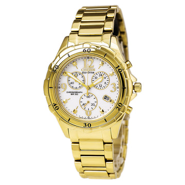 Citizen Women's Chronograph Watch - Eco Drive Yellow Steel Bracelet White Dial