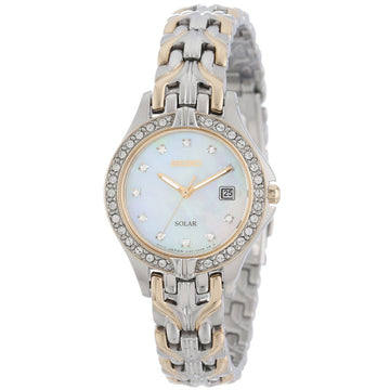Seiko SUT084 Women's Solar Dress Excelsior MOP Dial Two Tone Stainless Steel Diamond Watch