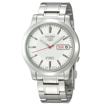 Seiko SNK789 Men's Seiko 5 Automatic Stainless Steel Bracelet White Dial Day Date Watch