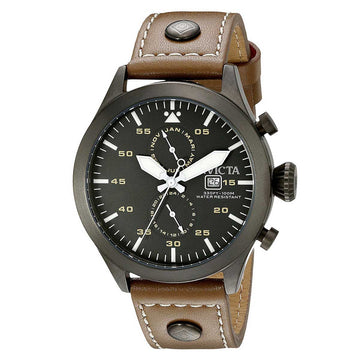 Invicta 18502 Men's I-Force Grey Dial Gunmetal Steel Khaki Leather Strap Watch