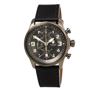 Victorinox Swiss Army 241526 Men's Infantry Vintage Grey Dial Black Leather Strap Chronograph Automatic Watch