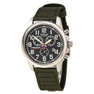 Citizen Men's Chronograph Watch - Eco-Drive Canvas Strap Black Dial | AT0200-05E
