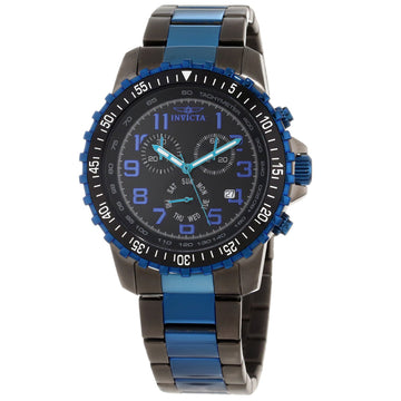 Invicta Men's Chronograph Watch - Specialty Pilot Black Dial Two Tone Bracelet