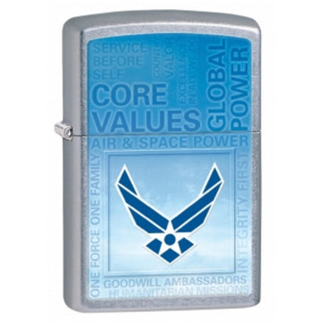 Zippo 28622 Street Chrome US Air Force Core Values Classic Windproof Pocket Lighter