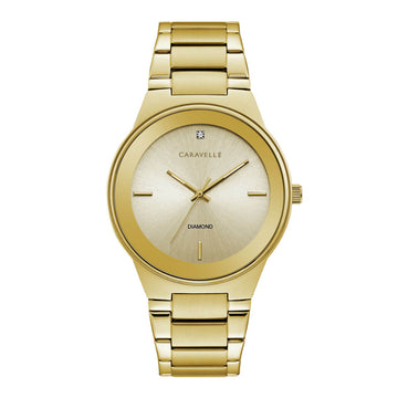 Caravelle Men's Diamond Watch - Gold Dial Yellow Gold Steel Bracelet | 44D100