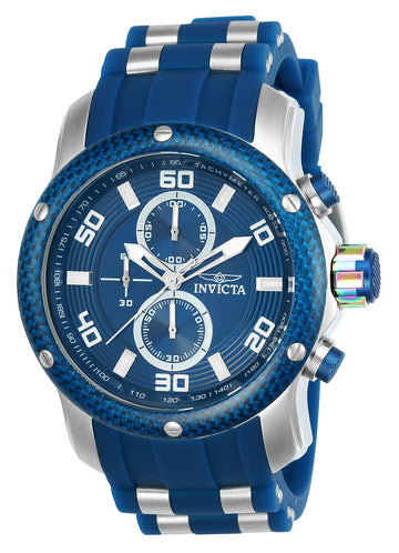 Invicta 24150 Men's Pro Diver Blue Dial Steel & Polyurethane Strap Chronograph Watch