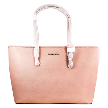 Michael Kors Women's Pale Pink Saffiano Leather Travel Tote - Jet Set Top-Zip Medium