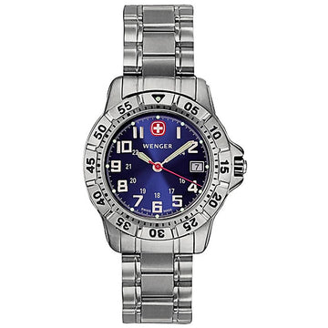 Wenger 72628 Women's Mountaineer Steel Bracelet Swiss Quartz Blue Dial Date Watch