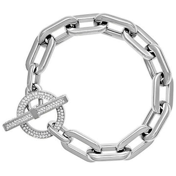 Michael Kors Women's Stainless Steel Bracelet - Crystal Accented Chain Link