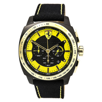 Ferrari 830291 Men's Quartz Aero Evo Chrono Black-Yel Watch