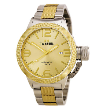TW Steel CB55 Men's Canteen Bracelet Gold Tone Sunray Dial Two Tone Steel Automatic Date Watch