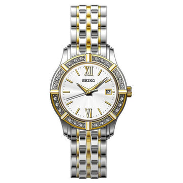 Seiko SXDE50 Women's Dress Silver Dial Two Tone Stainless Steel Quartz Crystal Watch