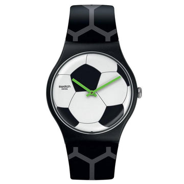 Swatch SUOZ216 Men's Footballissime White & Black Dial Grey & Black Silicone Strap Swiss Watch