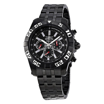 Invicta Men's Chronograph Watch - Signature II Black Stainless Steel Quartz | 7304