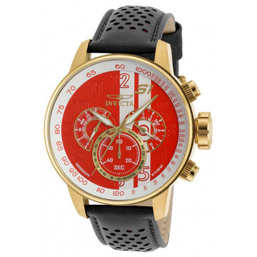 Invicta 19907 Men's Black Leather Strap Quartz S1 Rally Chrono GMT White-Red Dial Watch