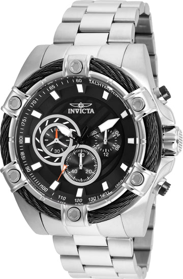 Invicta Men's Chronograph Watch - Bolt Black Dial Stainless Steel Bracelet | 25512