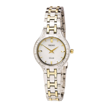 Seiko SUP335 Women's Core Solar Two Tone Bracelet White MOP Dial Diamond Watch