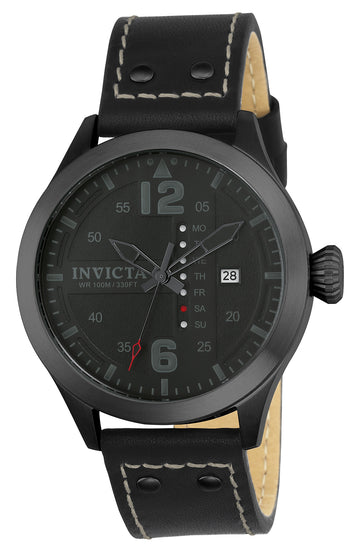 Invicta 22186 Men's Black Leather Strap Quartz I-Force Black Dial Day-Date Watch