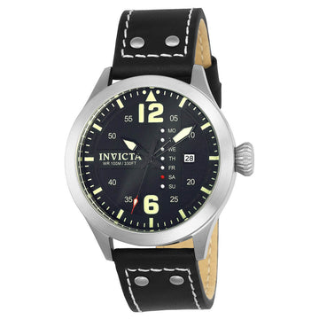 Invicta Men's Strap Watch - I-Force Quartz Black Dial Black Leather Day Date | 22180
